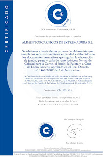 Iberian Alicex Quality Certificate