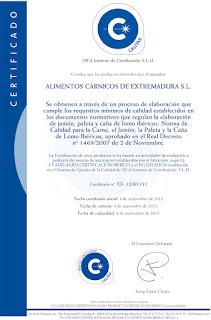 Certificado Calidad Ibericos Alicex