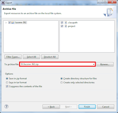 Archive file dialog