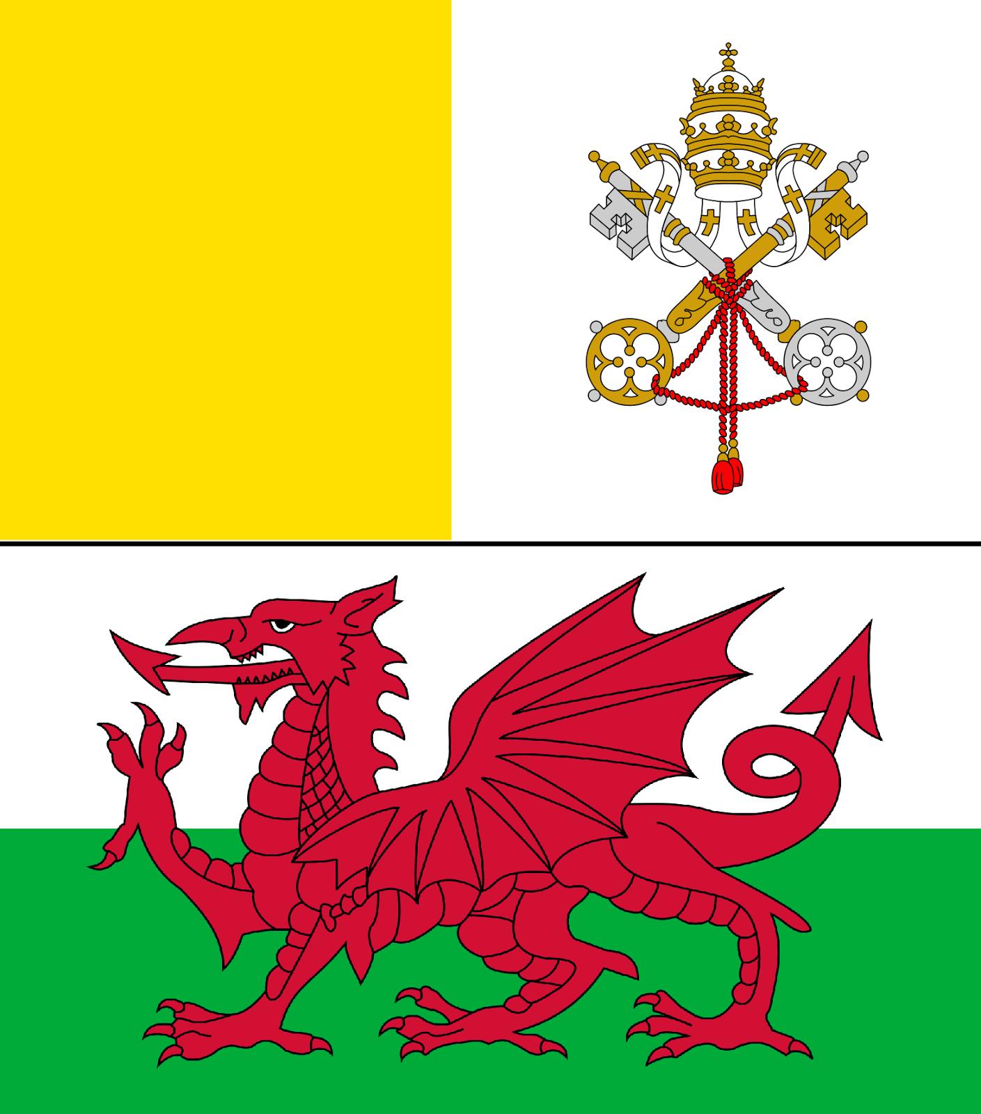 Vatican & Welsh Flags