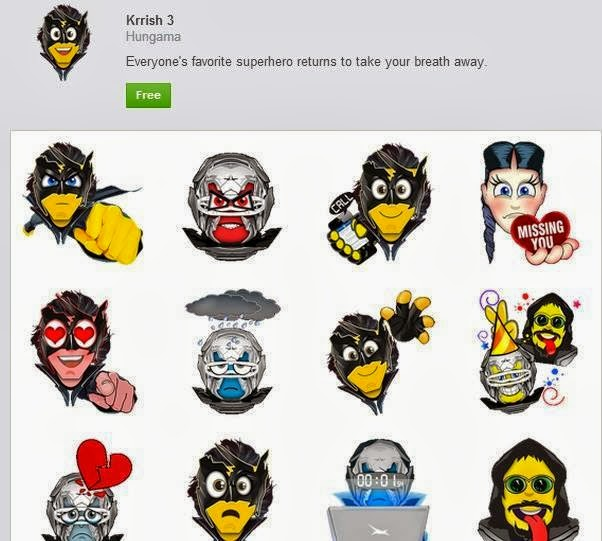 Krrish 3 facebook emoticons/stickers