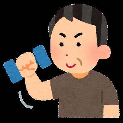 筋トレをする中年男性のイラスト