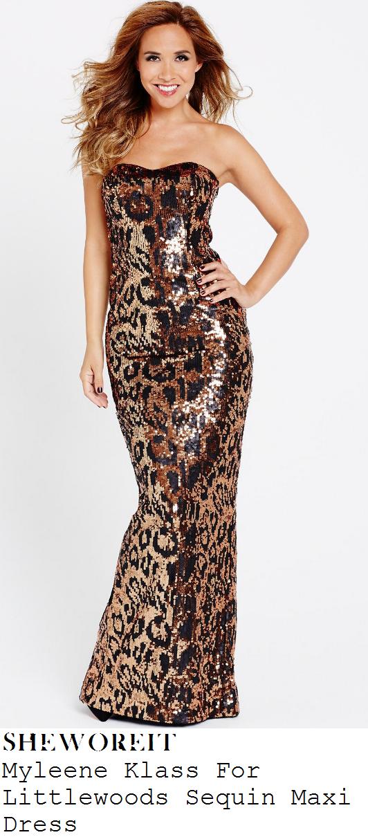 myleene-klass-metallic-bronze-and-black-leopard-print-sequin-strapless-maxi-dress-mobo-awards