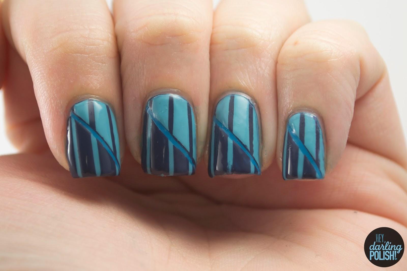nails, nail art, nail polish, polish, stripes, blue, hey darling polish, theme buffet, monochrome
