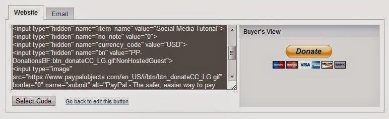 Cara Membuat Tombol Paypal Donation Widget di Blogger langkah 3