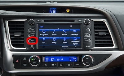 Entune, 2014 Toyota Highlander, Apps button