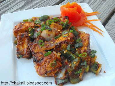 schezwan tofu, chili garlic tofu