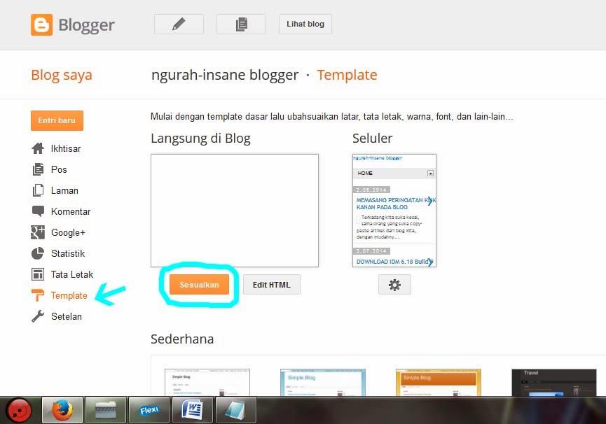 cara susuakan template blog