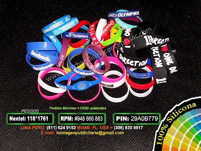 pulseras publicitarias en lima peru | merchandising en lima peru | novedades | novelties| pulseras de gioma| pulseras para importar