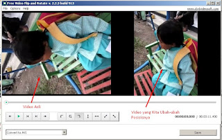 04 - Video Asli dan Video yang Dirubah Posisi pada aplikasi Free Video Flip and Rotate v2.2.2 build 913