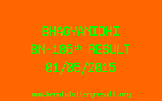 BHAGYANIDHI BN 186 Lottery Result 1-5-2015