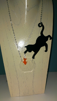 Sugar Jones Cat, goldfish and bowl necklace