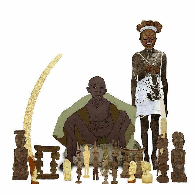 arte africano, vendedora ambulante, Dr.Carsi, Museo etnologia, dibujo