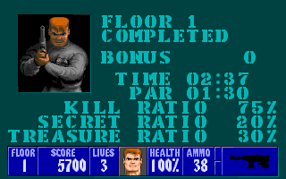 Wolfenstein 3D level complete screen