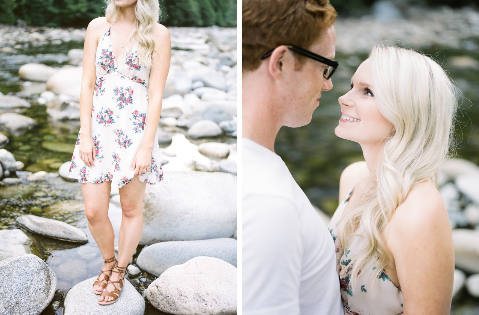 pretty dress from forever 21 for a Vancouver engagement photoshoot in summer, down by the creek