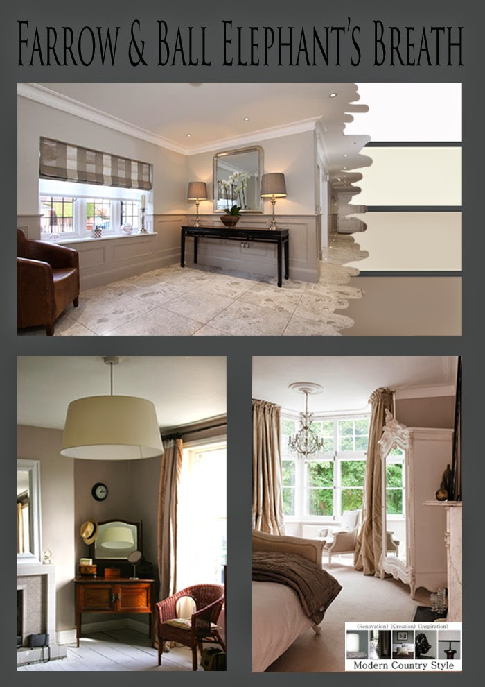 modern country style colour study farrow and ball elephant 39 s breath. Black Bedroom Furniture Sets. Home Design Ideas