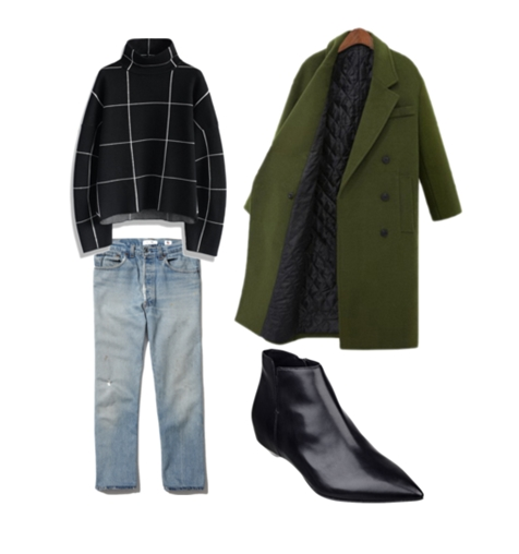 Olive Green Long Coat and Grid Top