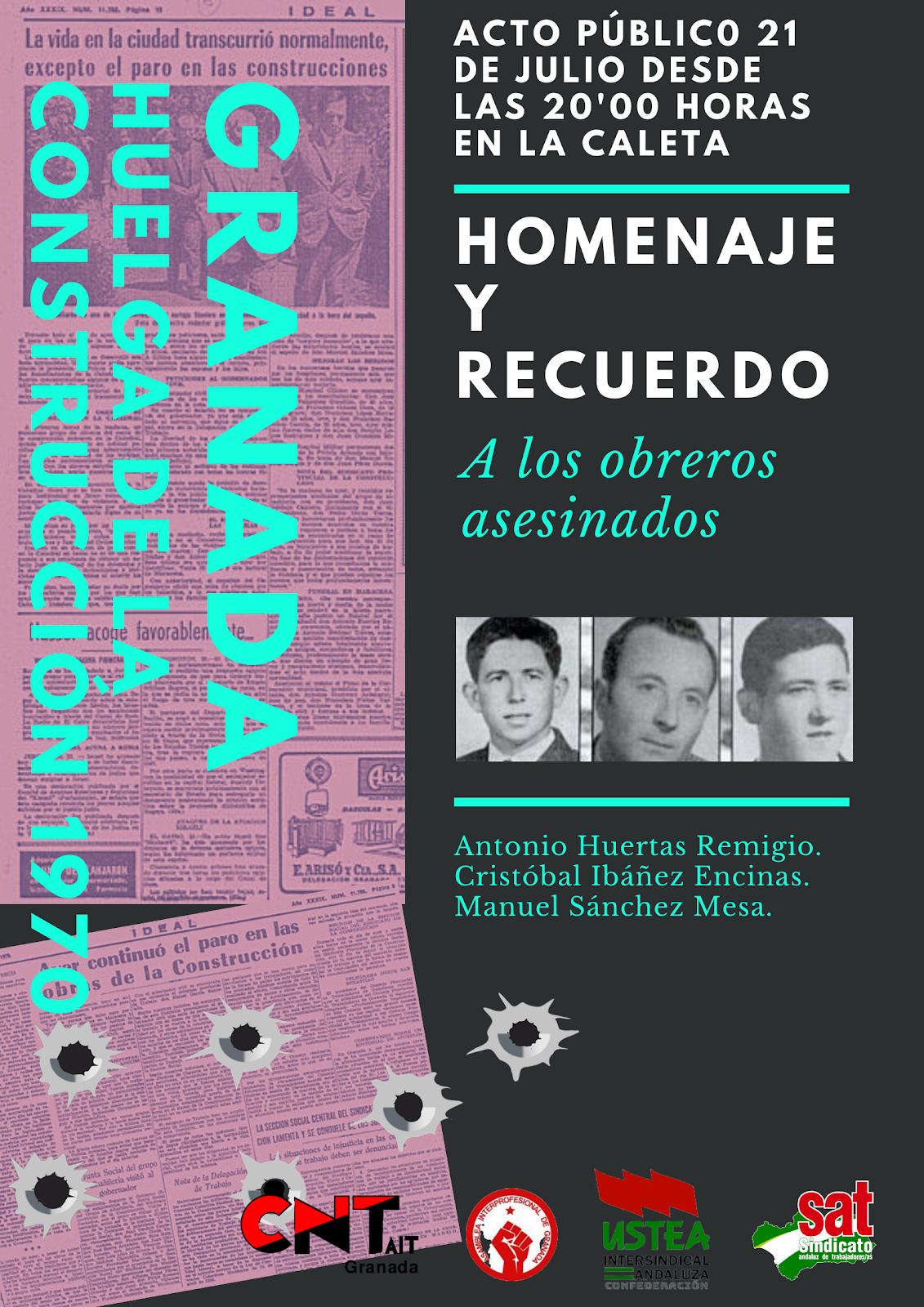 ACTO PÚBLICO: HOMENAJE Y RECUERDO  A LOS OBREROS ASESINADOS.