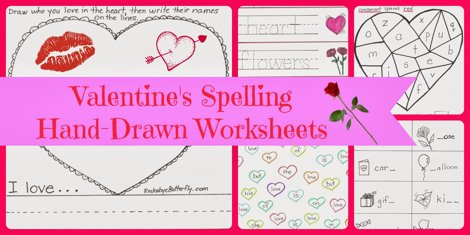 http://www.teacherspayteachers.com/Product/Valentines-Spelling-Hand-Drawn-Worksheets-1085663