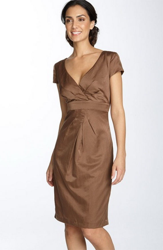 Elegant brown bridesmaid dresses world of bridal for Brown dresses for wedding
