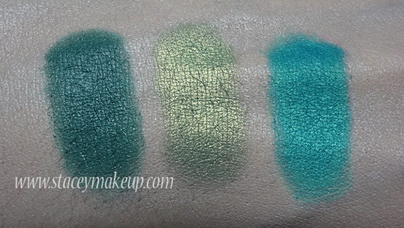Makeup Geek Eyeshadows swatches sea mist, shimmermint, poolside