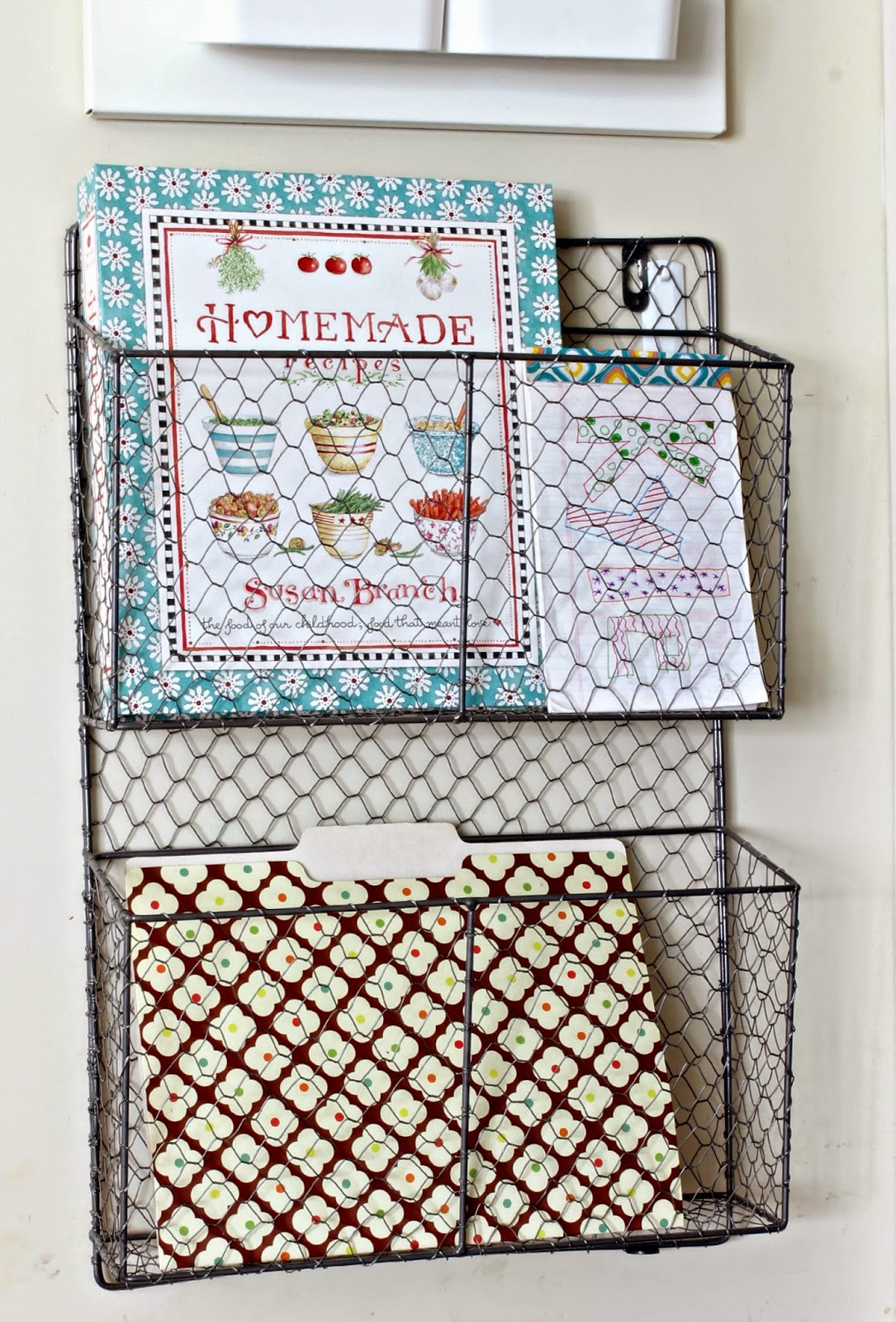 Wire basket in Kitchen Command Center-www.goldenboysandme.com