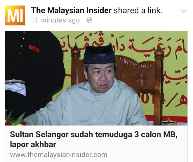 Sultan Selangor sudah temuduga 3 calon MB Azmin Iskandar Ahmad Yunus lapor akhbar The Star