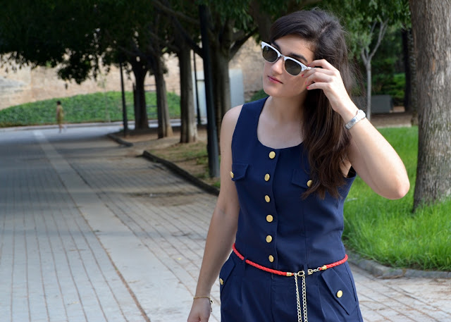 something fashion for a walk, clubmaster rayban sunnies, red pierre cardin wedges, summer style, vintage longchamp print bag, navy jumpsuit from morgan