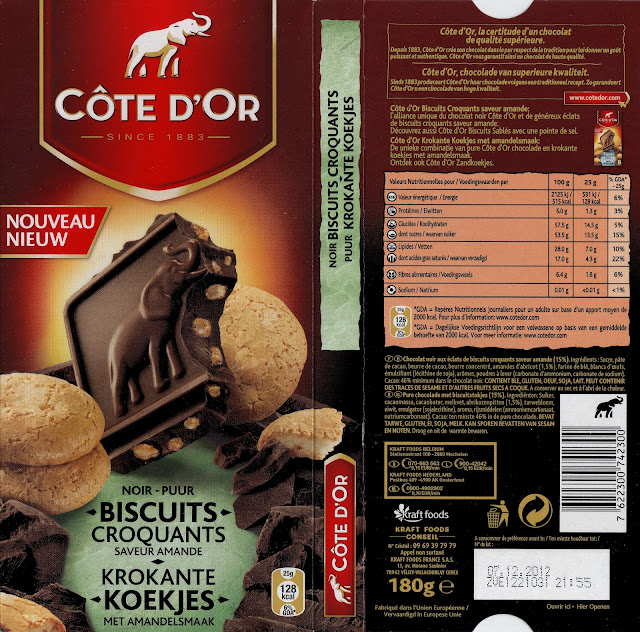 tablette de chocolat noir gourmand côte d'or noir biscuits croquants saveur amande