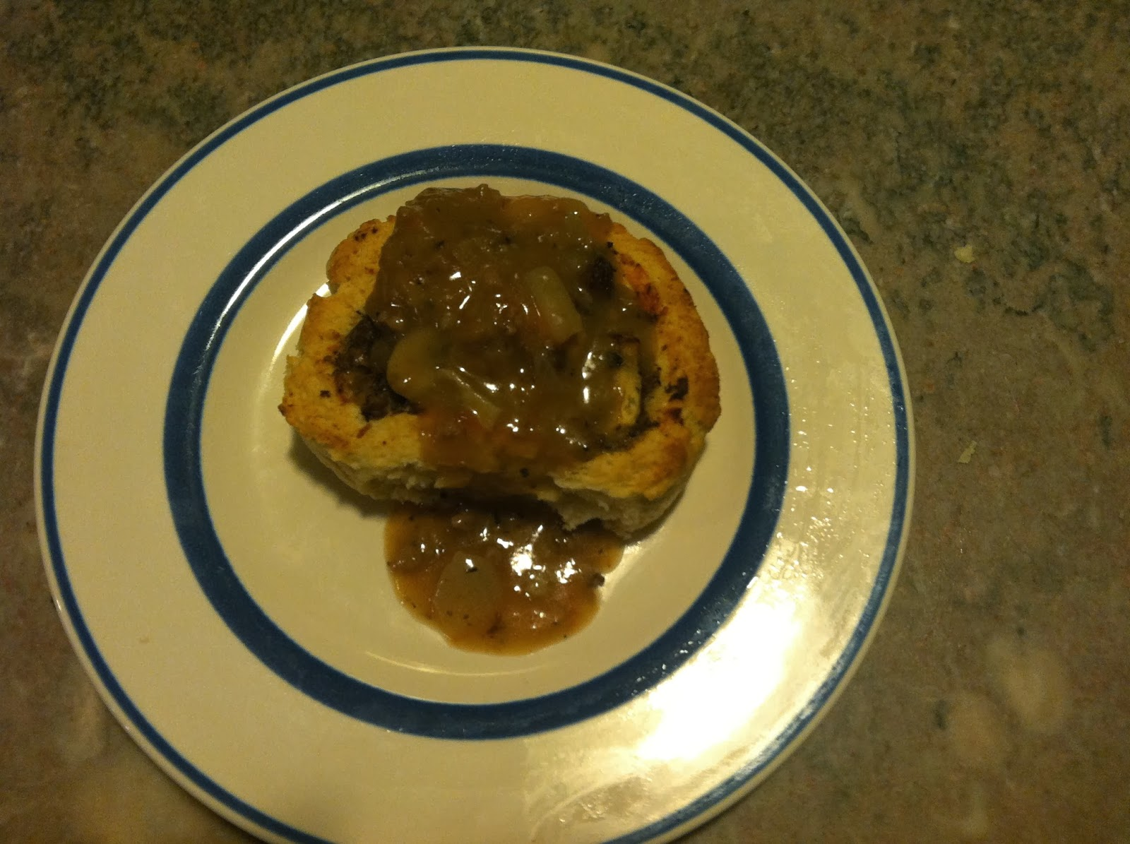 meat rolls . . . biscuit dough filled with meat & cheese and topped with a meat gravy
