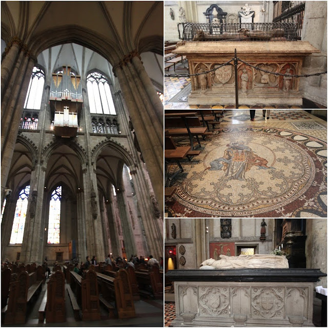 Long House Organ 1998 (left), from top to bottom Tomb of Count Gottfried of Amsberg, Mosaic on the floor and Tomb of Wilhelm Von Gennep at Cologne Cathedral in Cologne, Germany