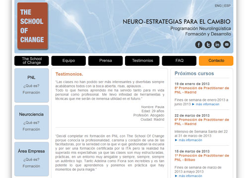 página web oficial de The School of Change: Neuro-Estrategias para el cambio
