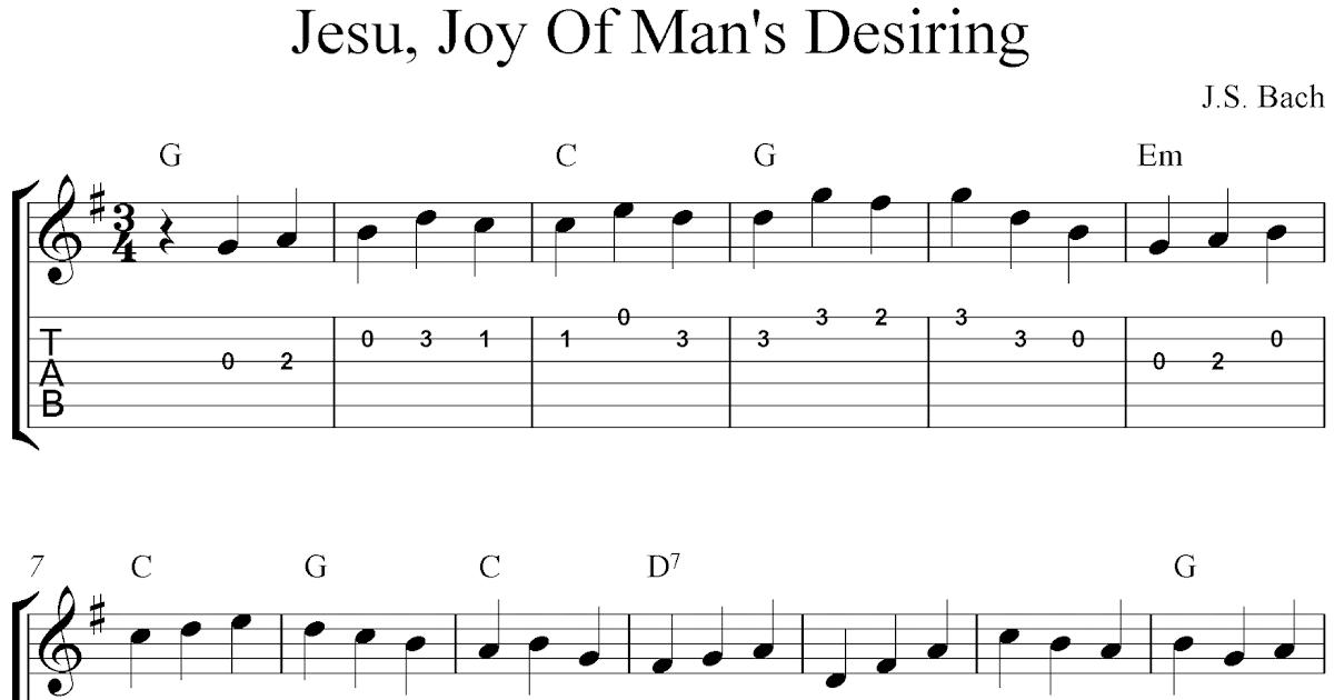 Free guitar tablature sheet music, Jesu, Joy Of Man's Desiring by J.S. Bach