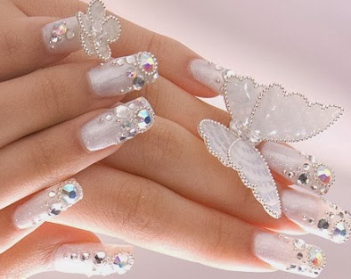 Glamorous acrylic nail designs with glitter prinsesfo Image collections