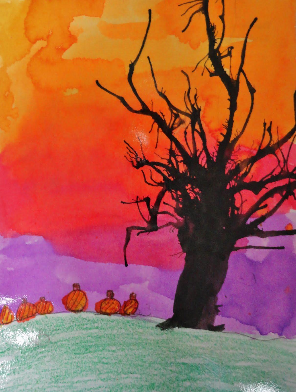 Halloween watercolor painting