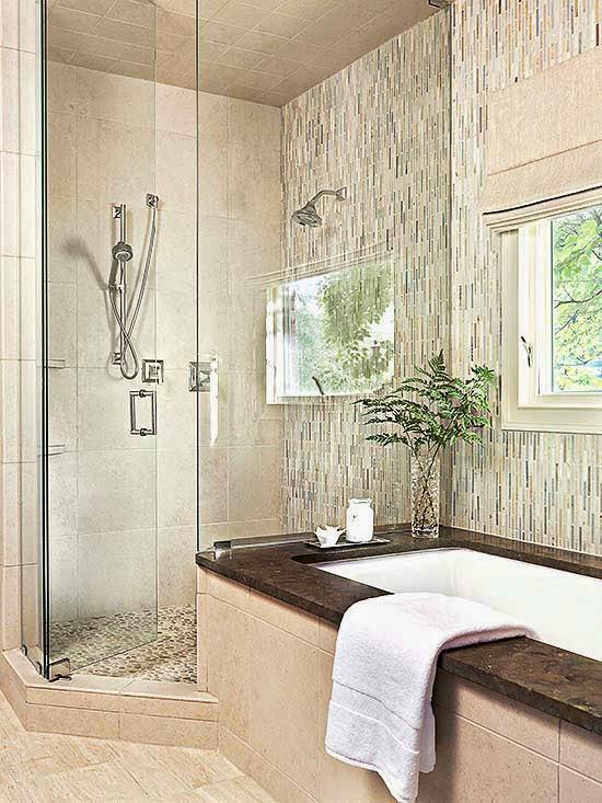 10 Banheiros lindos  Decoração e Invenção -> Banheiro Pequeno Com Banheira E Chuveiro Separados