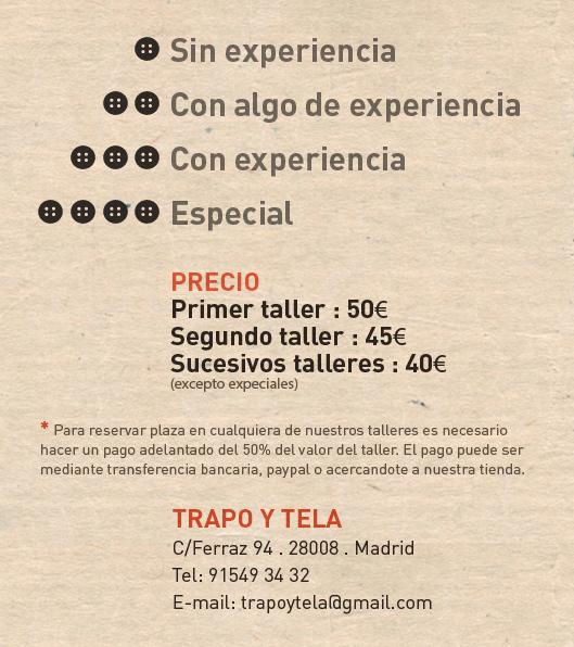 Informacion monográficos marzo en Trapo y Tela