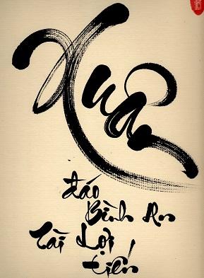 Hình nền thư pháp chữ xuân