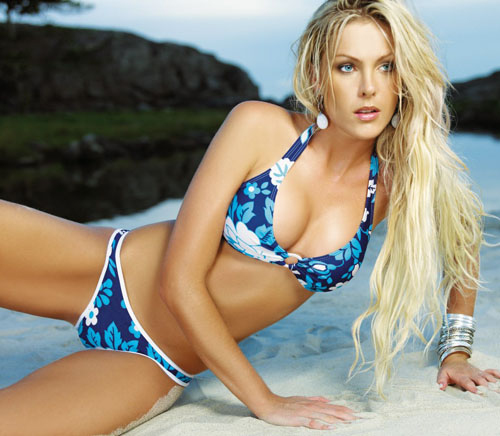 Ana Hickmann in blue bikini fashion