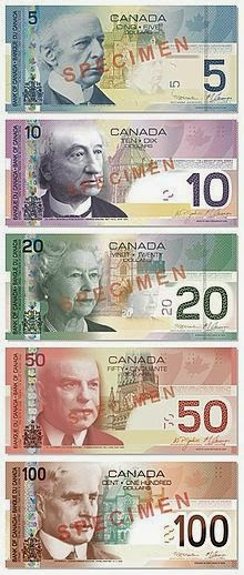 5 Canadian bills- $5, $10, $20, $50, $100