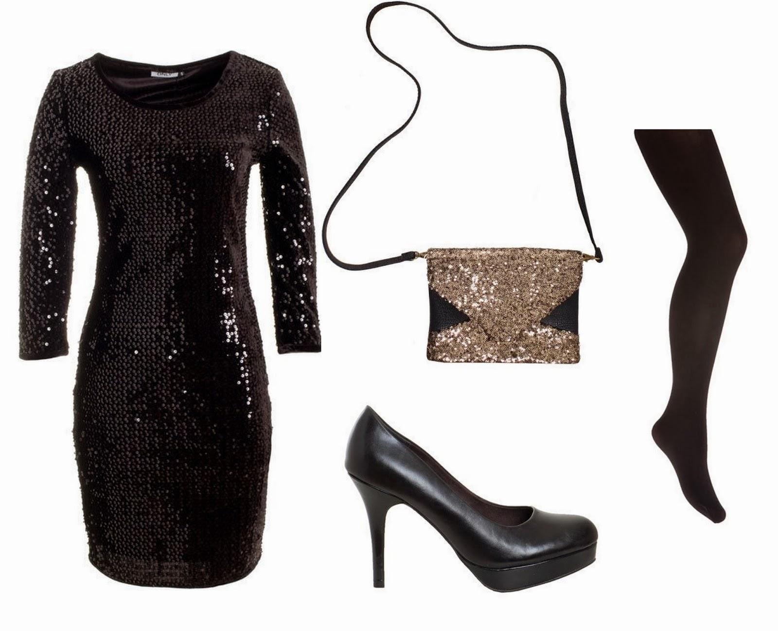 zwarte jurk met pailletten