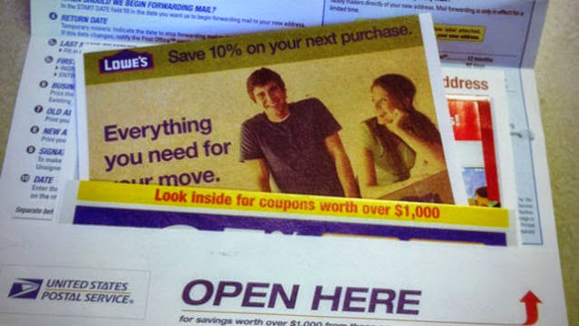 lowe's 10% off coupon, post office, change of address