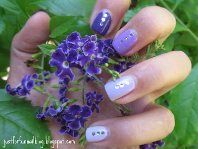 Purple Ombre nails with sequins