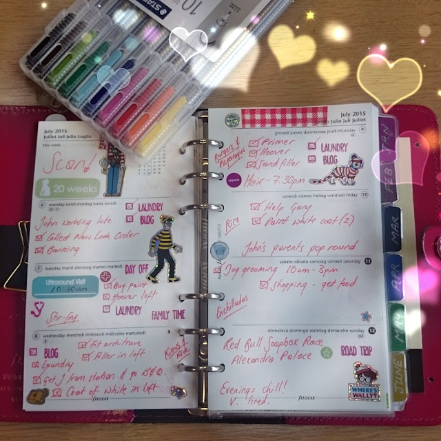 filofax patent fuchsia original personal size planner week 28 decoration studio l2e stamps stickers