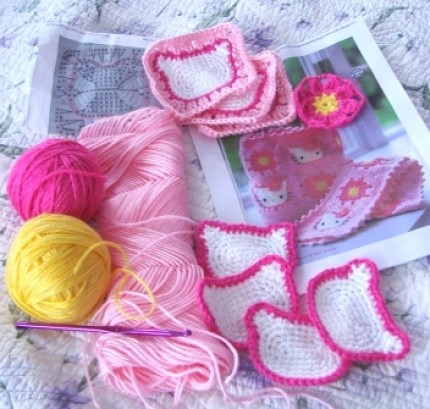 Hello Kitty Granny Square! - Free Crochet Diagram