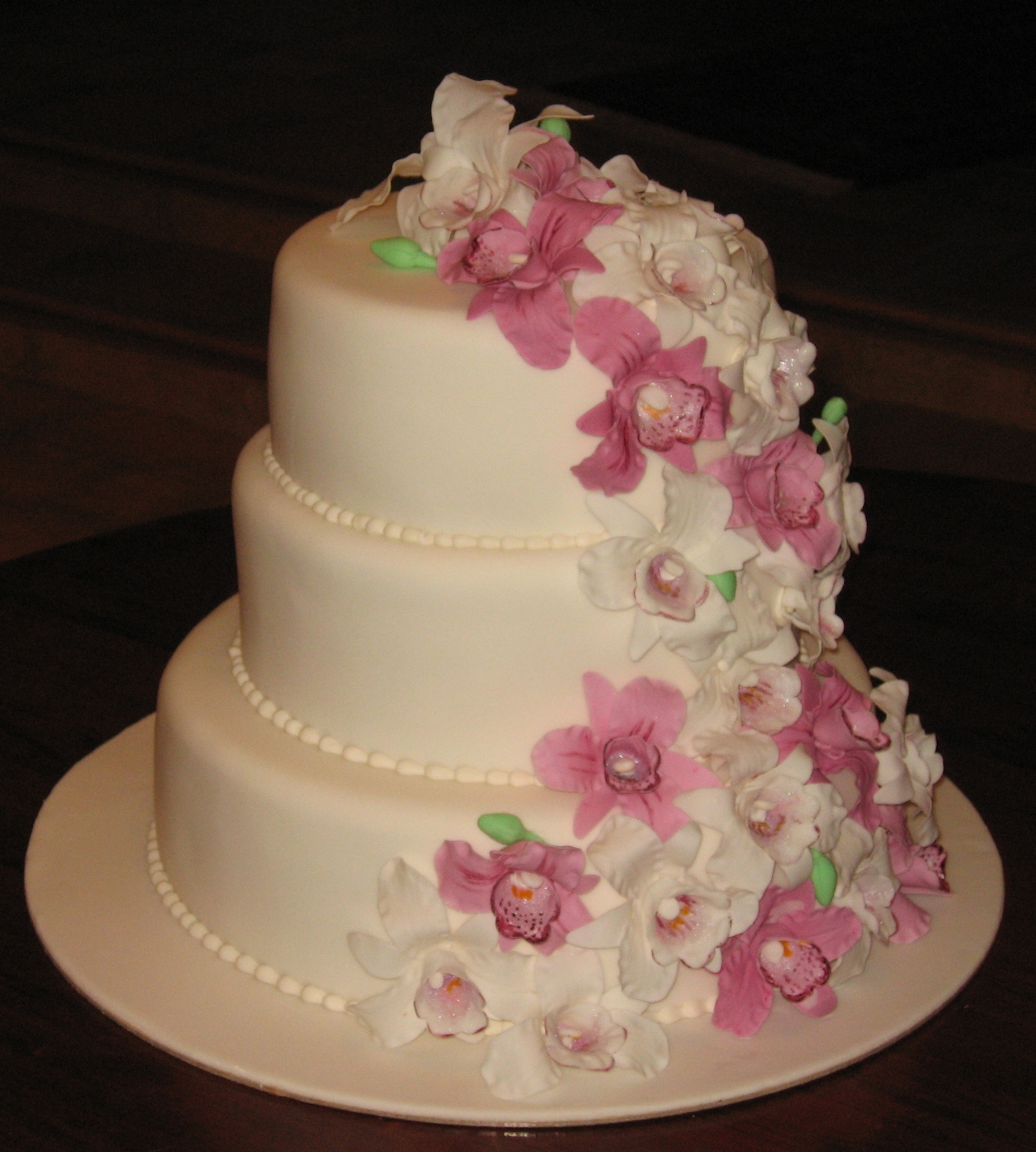let them eat cake orchid wedding cake