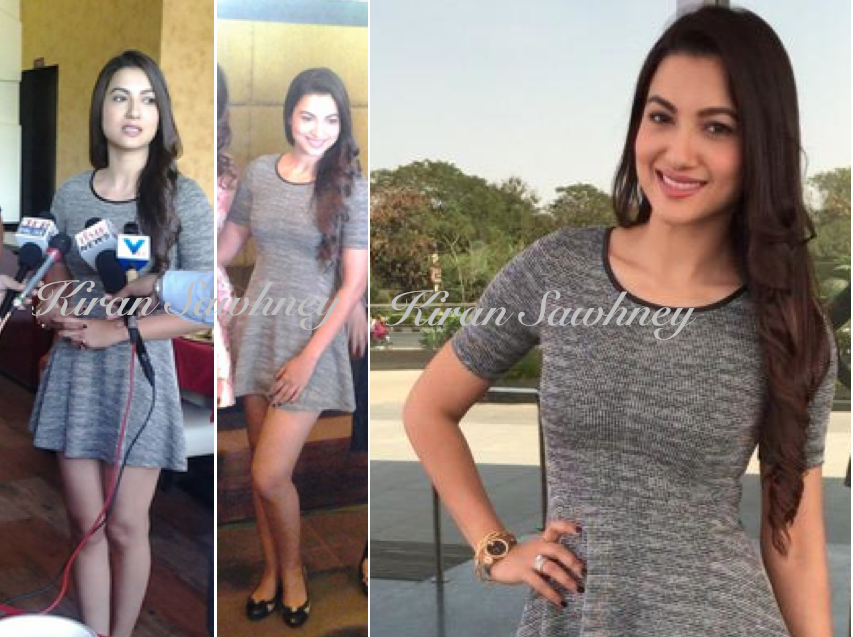 Gauahar Khan in Ahemdabad in grey H&M