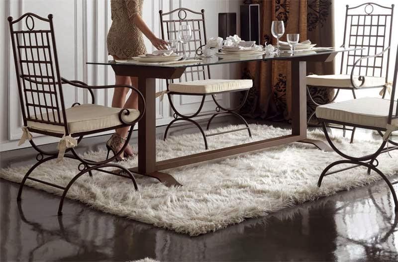 mesa forja y cristal, mesa acero salon, mesa comedor forja