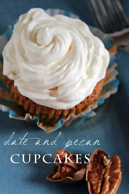 date and pecan cupcakes with ricotta frosting