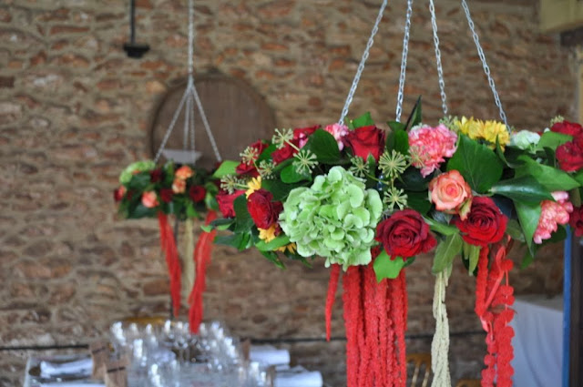 Centros flor colgantes boda Valencia